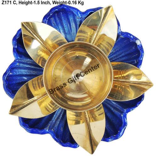 Brass and Aluminium coloured Diya Deepak - 4.6*4.6*1.5 inch  (Z171 C)