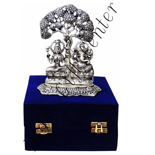 White Metal Laxmi Ganesh under Tree - 7Inch (AS089)