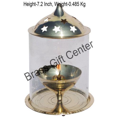 Brass Akand Diya Deepak With Chimney- 5 Inch (Z014/8)