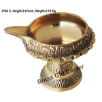 Brass Kuber Deepak Diya With Stand No. 3 - 3.3*2.7*2.6 Inch  (Z194 E)