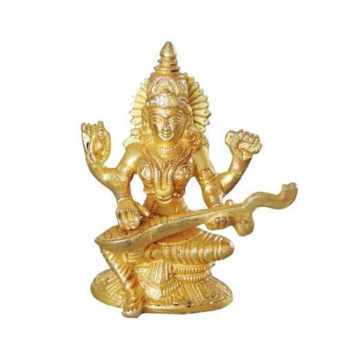 Brass Saraswati StatueMurtiIdol - 4.5 inch BS1041 S