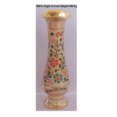 Brass Flower Vase pot with Handwork - 4.4*4.4*12 Inch  (F659 H)