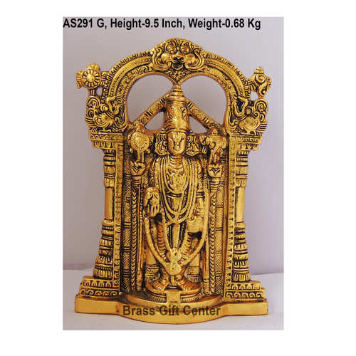 Tirupati Balaji Statue  Murti Idol In Gold Antique Finish - 7x1.5x9.5 Inch