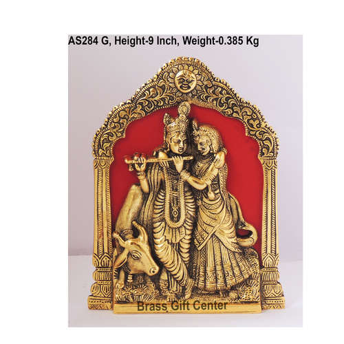 Radha  Krishna with Cow In Golden Antique Finish - 6.519 Inch