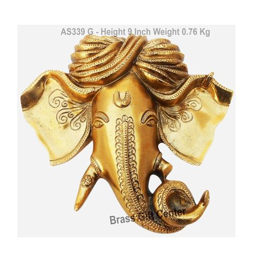Wall Hanging Ganesh Statue Murti Idol In Gold Antique Finish - 9.4x9 Inch AS339 G