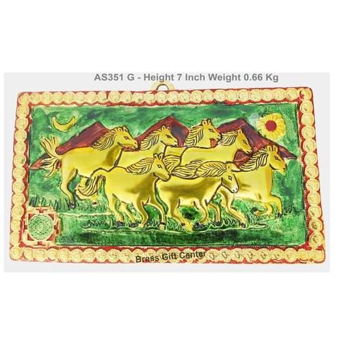 Metallic Scenery Of 7 Running Horse- 11x7 Inch AS351 G