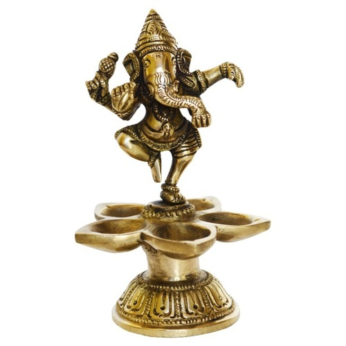 Lord Ganesha Dancing Statue On Deepak Made of Brass - 6 Inch BS1192 A