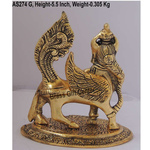 Metallic Kamdenu Gaye Cow In Golden Antique Finish - 5*4.5*5.5 Inch  (AS274 G)