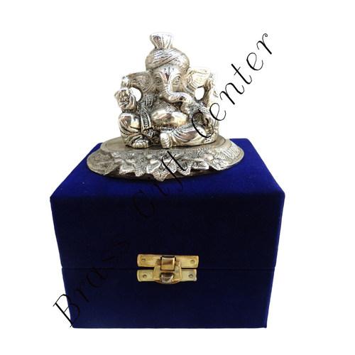 White Metal Pagadi Ganesh Statue - 3.5 Inch AS068 A