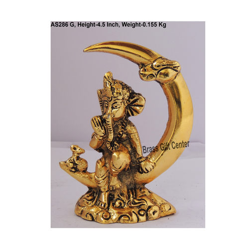 Ganeshji Sitting on Moon In Golden Antique Finish - 3.5*2*4.5 Inch