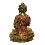 Brass Buddha Statue Murti Idol In Multicolour Lacquer Finish - 9x7.5x14 Inch  BS660 C