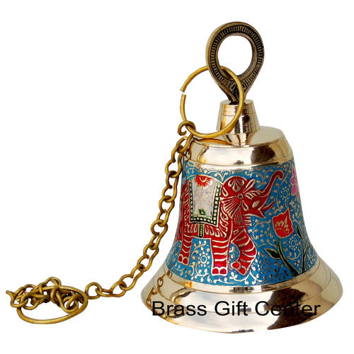 Brass Temple Bell With Handicraft Colour 5.5 Inch F513 B