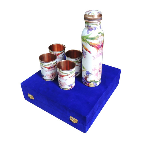 Copper Water Bottle Set With 4 Glass - 1 Ltr BC143 E