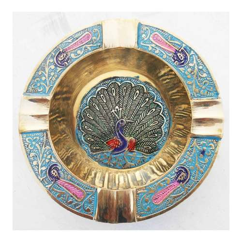Brass Ash Tray With Multicloured Finsih -  4.5 Inch Z382 C