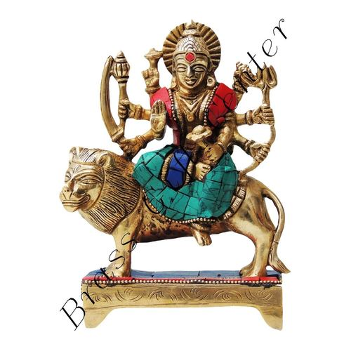 Brass Durga Murti Statue idol with Turquoise Coral stone  work - 246.5 inch  BS438 B