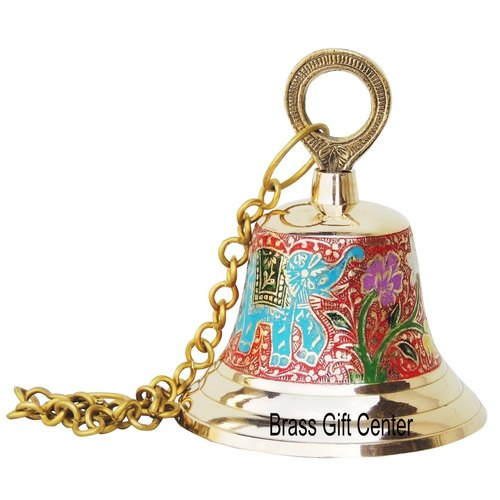 Brass Temple Bell With Handicraft Colour 4.8*4.8*6 Inch  (F515 A)