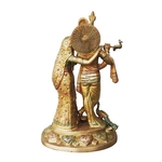 Brass Radha Krishna Statue Murti In Multicolour Lacquer Finish - 17 Inch  (BS399 A)