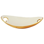 Aluminium Serving Tray Platter in White and Gold Finish - 1183 Inch  A316711