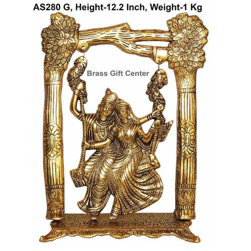 Radha Krishna jhaula In Golden Antique Finish - 9.4x4.6x12.2 Inch