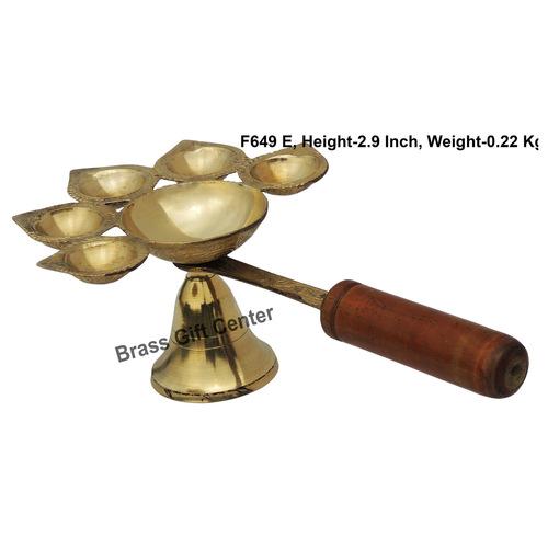 Brass Panch Arti Deepak Diya With Wooden Handle - 10.563.5 Inch  F649 F