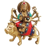 Brass Durga ji with Turquoise Coral Stone Finish- 8 inch BS523