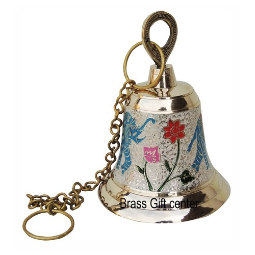 Brass Temple Bell With Handicraft Colour 5.5 Inch (F513 C)