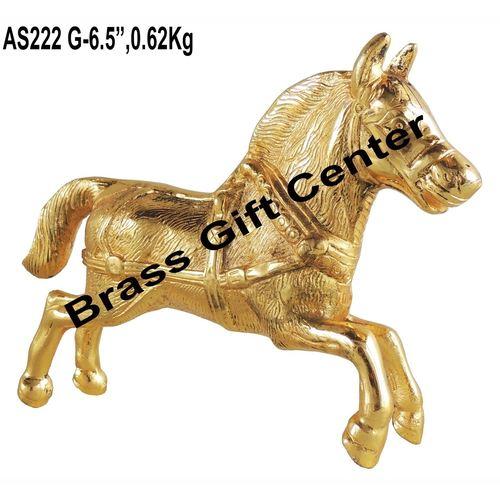 Metallic Running Horse Decorative Showpiece In Gold Finish - 9.62.56.5 Inch AS222 G