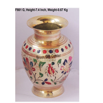 Brass Flower Vase pot with Handwork - 5.2*5.2*7.4 Inch  (F661 G)