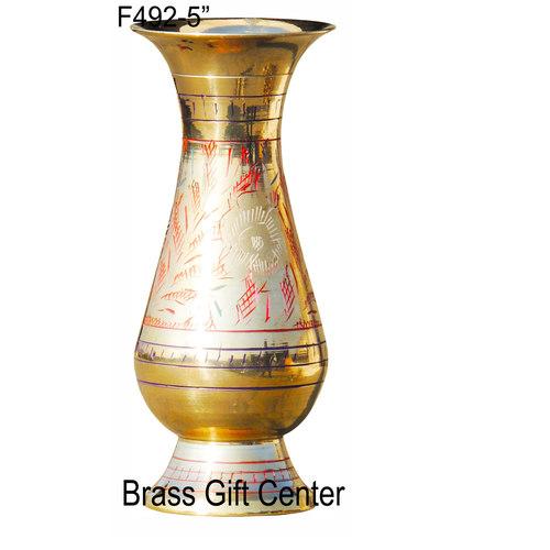 Brass Coloured Flower Vase with handwork - 5 Inch  F492