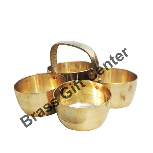 Brass Chokta Small 4 Bowl Combined - 3.6*3.6*2.3 Inch  (Z142 D)