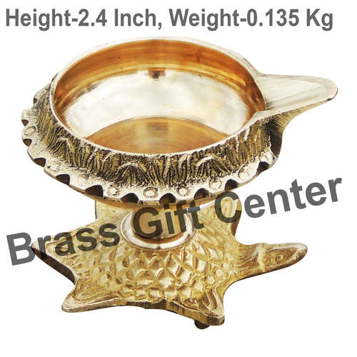 Brass Kuber Tortoise Diya Deepak No. 2 - 3*2.5*2.4 Inch  (Z141 D)