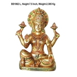 Brass Laxmi Statue Murti Idol in MultiColour Lacuquer Finish - 7.5 inch BS1062 L