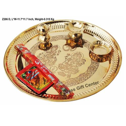 Brass Puja Pooja Thali With Deepak Agarbatti Stand And Roli Hold With Agarbatti And Sindur Packet - 11.711.71.8 inch Z206 D