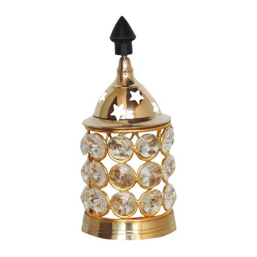 Brass Deepak With Crystal Chimney - 4.5 inch (F320 A)
