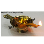 Brass Laxmi Deepak LD No. 00 Diya With Handle - 2.6 Inch  (F626 X)