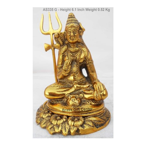 Metallic Shivji Statue Murti idol In Gold Antique Finish - 4.346.1 Inch AS335 G