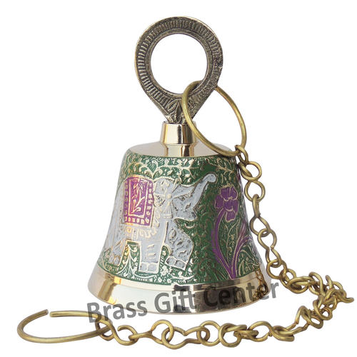 Brass Temple Bell With Handicraft Colour 3*3*4.8 inch  (F641 A)