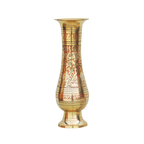 Brass Coloured Flower Vase with handwork - 4*4*12 inch  (F493)