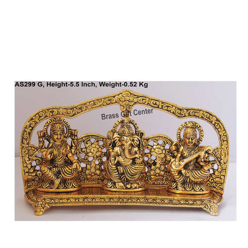 Laxmi Ganesh  Saraswati LGS Statue Murti Idol In Gold Antique Finish - 9.5x2x5.5 Inch