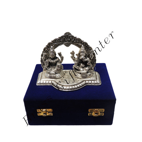 Laxmi Ganesh packed in Blue Velvet Box - 4.5 Inch AS076