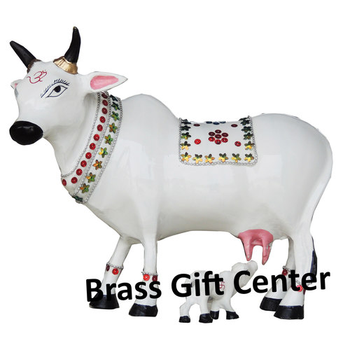 Gaye Bachdha Cow With Calf Statue - 11 inch (AS248 D)