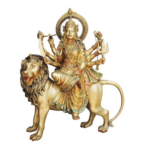 Brass Durga ji Statue/Murti/Idol With Multicolour Lacquer Finish - 24 inch (BS491 A)