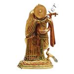 Brass Radha Krishna Statue Murti In Multicolour Lacquer Finish - 12 inch  BS399 C