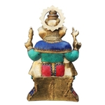 Brass Ganesh Idol Murti Statue with Turquoise  Coral stone work - 27.2 Inch  BS609