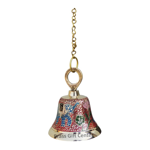 Brass Temple Bell With Handicraft Colour 3.53.55.5 Inch  F516 A
