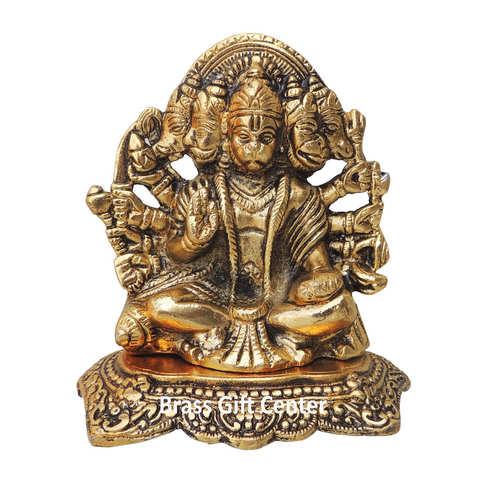Showpiece Panchmukhi Hanuman Ji With Gold Finish - 5.8 Inch AS364 G