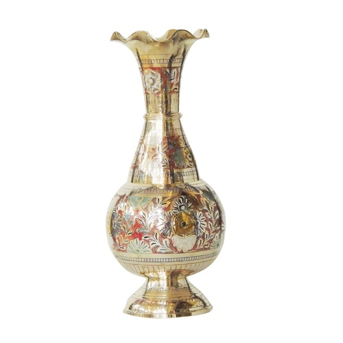 Brass Coloured Flower Vase with handwork -5.2*5.2*12 Inch  (F536 A)