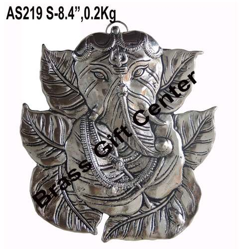 Wall Hanging Ganesh in Silver Antique finish - 7.68.5 inch AS219 S