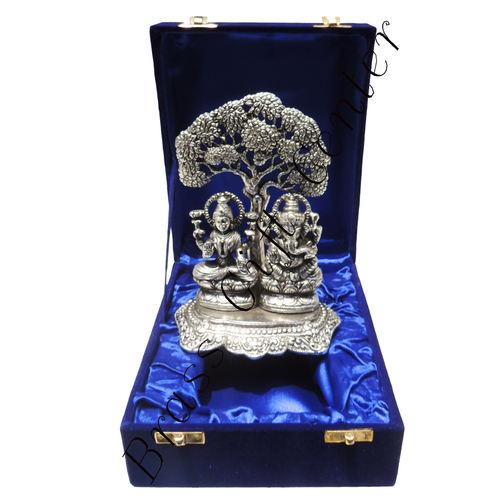 White Metal Laxmi Ganesh under Tree - 7Inch (AS089)