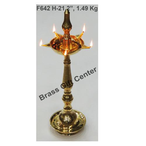 Brass Kerala Fancy Deepak Diya - 21.2 inch  F642 H